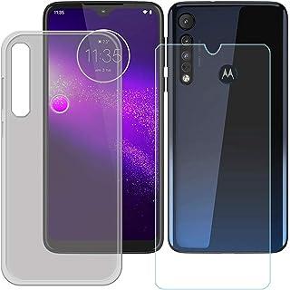 YZKJ Fodral för Motorola G8 Plus Cover grå mjuk silikon skyddande skal TPU skal skal skal + pansarglas skärmskydd för Moto...