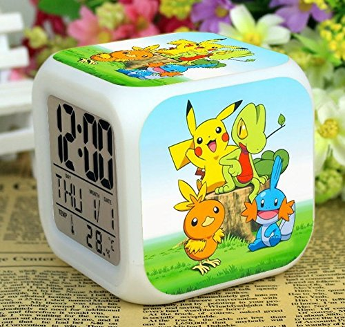 Enjoy Life : Cute Digital Multifunctional Alarm Clock With Glowing Led Lights and Pokemon Pikachu sticker, Good Gift For Your Kids, Comes With Bonuses Part 2 (12)