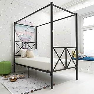 JURMERRY Canopy Lit en métal avec tête de lit et marchepied de style européen en acier robuste Montage facile à monter so...