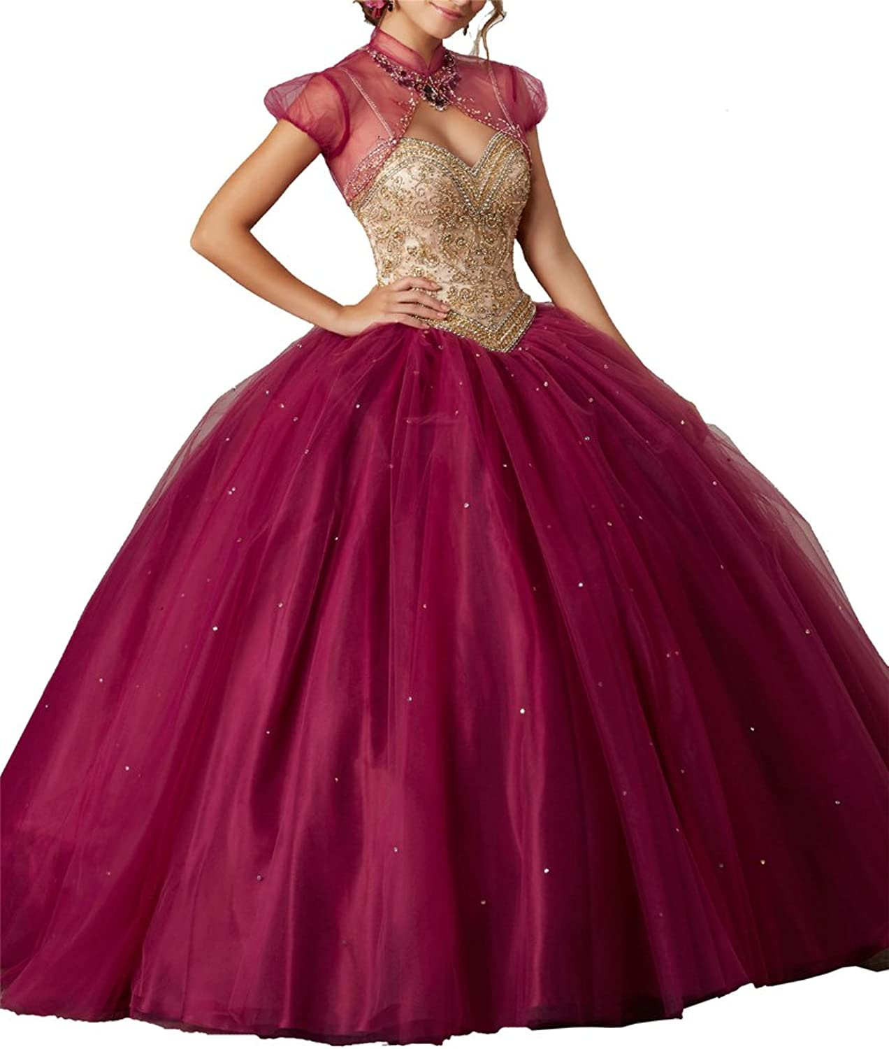 Yang Women Spaghetti Beaded Free Jacket Sequins Pageant Sweet Girls Quinceanera Dresses