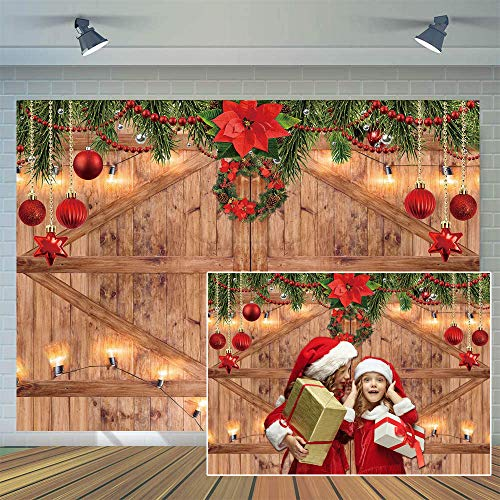 CYLYH 7x5FT Christmas Backdrop New Year Party Background Barn Door Backdrop Family Party Christmas Decoration Background Photo Studio Props D507