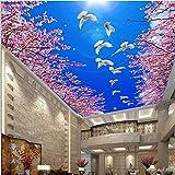 rylryl Benutzerdefinierte dreidimensionale Fototapete 3d blauen Himmel weiße Taube Kirschdecke Dach Tapete-250x175cm