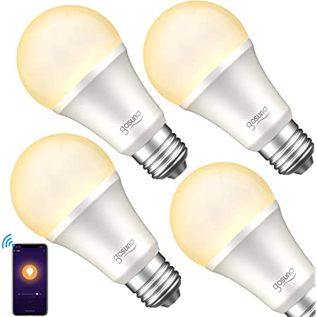 Smart Light Bulb, Gosund Dimmable WiFi LED Light Bulbs that Works with Alexa Google Home, E26 A19 Warm White 2700K Bulb, No Hub Required, 8W (75W Equivalent), 4pack