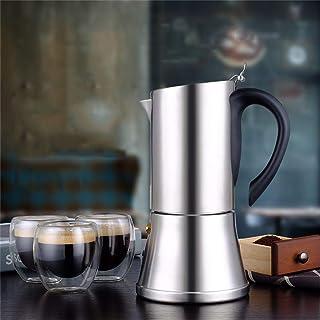 HEYU-Moka 6 Tazas (350 ml) de cafetera Espresso Italiana, Olla Moka Lavada a Mano para el hogar y la Oficina, Acero Inoxidable 304 de Grado alimenticio Grueso, sin Olor, fácil de Limpiar
