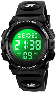 Boys Digital Watch Outdoor Sports 50M Waterproof Electronic Watches Alarm Clock 12/24 H Stopwatch Calendar Wristwatch - All Black