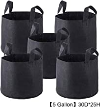 Koalcom 5-Pack Nonwoven Fabric Pots Breathable Plant Bags Strap Handles Grow Bags Fabric Pots 5 Gallon