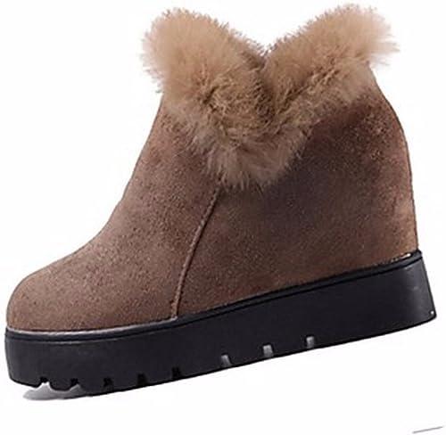 ZHUDJ Chaussures pour pour pour Femmes Bottes D'hiver Bottes Neige Talon Bout Rond Noir Kaki Occasionnels,Kaki,Us5.5 Eu36 Uk3.5 Cn35 64e
