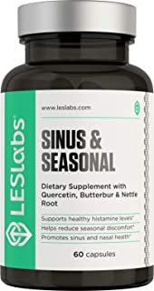 LES Labs Sinus & Seasonal, Sinus Relief & Seasonal Discomfort Supplement for Healthy Histamine Levels, Respiratory & Nasal Health with Butterbur, Quercetin & Nettle Root, 60 Capsules