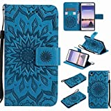 Guran® PU Leder Tasche Etui für Huawei Ascend P7 (5 Zoll) Smartphone Flip Cover Stand Hülle & Karte Slot Hülle-blau…