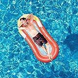 HAOXIU Hamaca hinchable con red, 150 x 75 cm, para fiestas, playa, piscina, tumbona de aire, con malla