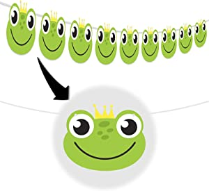 Cute Frog Banner Happy Birthday Theme Prince Party Decor Picks for Fairy Tales Baby Shower Decorations Supplies