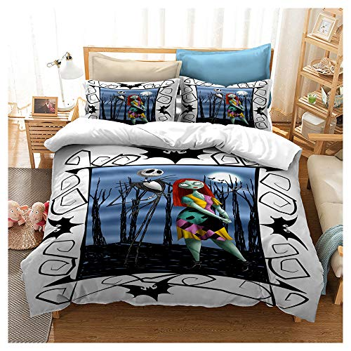 HOXMOMA Nightmare Before Christmas 3D Printing Duvet Cover with Pillowcase, Children Bedroom Decor Bedding Set, Microfibre Hypoallergenic Comforter Cover for Kids Adults,White,Twin173cmx218cm