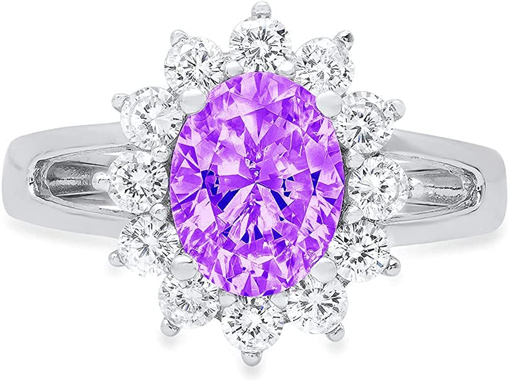 2.36ct Brilliant Oval Cut Solitaire with Accent Halo Natural Purple Amethyst Gem Stone Ideal VVS1 Engagement Promise Anniversary Bridal Wedding Ring 14k White Gold