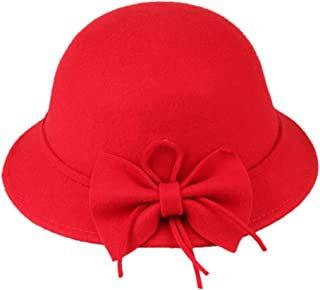 MOMOCHAO Little Girls Fedora hat Dome Cap Children Dress Hats Kids caps Felt Hats