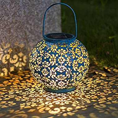Solar Lantern Hanging Garden Outdoor Lights Metal Waterproof LED Table Lamp Decorative (Blue)