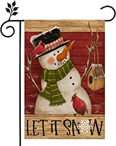 CROWNED BEAUTY Christmas Winter Let It Snow Garden Flag Snowman Red Cardinal Double Sided Vertical 12×18 Inch Rustic Farmhouse Decor for Seasonal Holiday Yard CF316