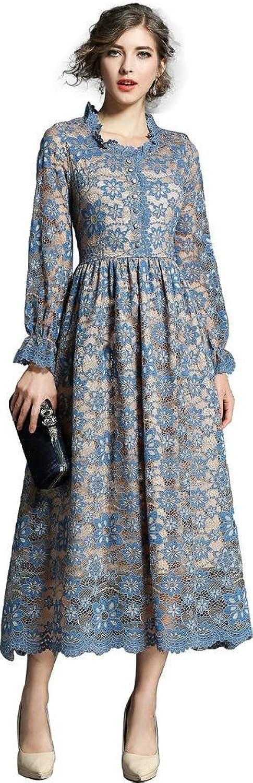 Ababalaya Women's Elegant ONeck Floral Lace Long Sleeve Midi Long Cocktail Bridesmaid Dress