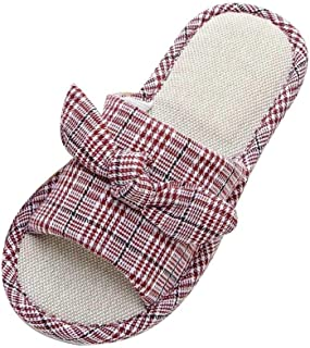 Voberry Summer Women Striped Lattice Casual Home Linen Flip Flops Indoor Slipper Shoes
