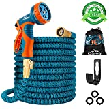 """Gpeng Sunhoo 50ft Expandable Garden Hose, Upgraded Water Collapsible Hose with 9 Function Spray Nozzle, Durable 3-Layers Latex Core with 3/4"""" Solid Brass Fittings, Lightweight Expanding Flexible Hose"""