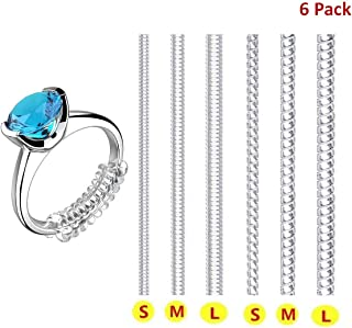 Ring Size Adjuster for Loose Rings Invisible Transparent Silicone Guard Jewelry Tightener Resizer 6 Sizes Fit Almost Any Rings 6 Pack