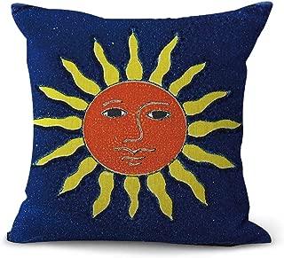 WholesaleSarong Mexican Talavera Spanish Sun face Cushion Cover Pillowcase and Throws Mexico Culture Indigenous Folk Art