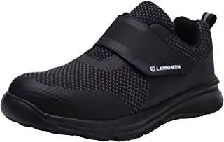 Mens Womens Steel Toe Work Shoes, LM-1821 Knit Breathable Lightweight Safety Shoes with Magic Tape