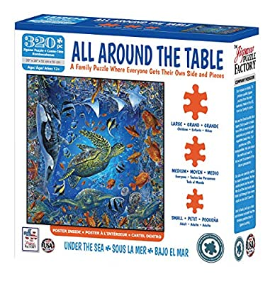The Jigsaw Puzzle Factory All Around The Table Under The Sea with Underwater Fish & Turtles, Family Participation Puzzle Games for Kids & Adults Ages 12 & Up, 320Piece by Jigsaw Puzzle Factory