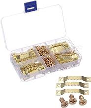 JZK 100 x gouden ophanghaakjes met dubbel gat en 200 x schroeven met vak voor kunst foto canvas schilderij