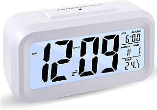 Intelligent digital väckarklocka, dimbar LED ljusnattlampa, reseväckarklocka med tidskalender, temperaturdisplay, används ...