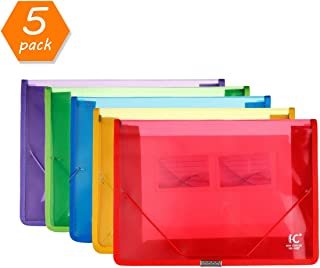 HC Eco-Friendly Plastic File Folders, Expandable Poly Envelope File Wallet File Document folder with Elastic Cord Closure and Card Slot,Durable&Waterproof for Office Home School Organization -5 Colors