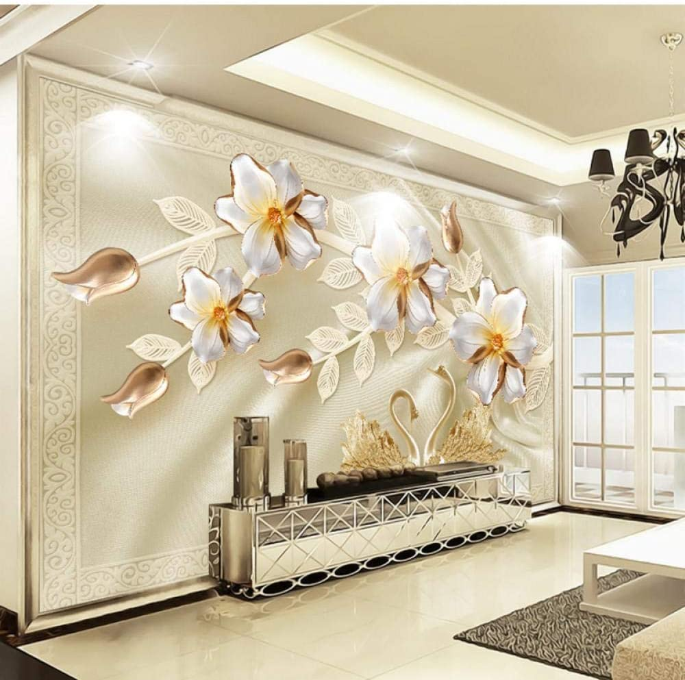 National products Custom 3D Wall Mural Wallpaper Luxury Flower Max 66% OFF T Swan Silk Jewelry