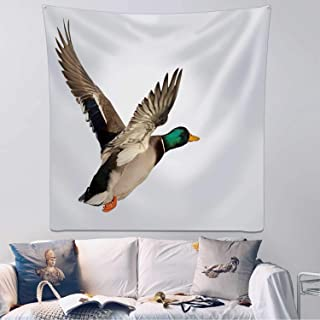 Hitecera Flying Duck Wall Hanging,Isolated on White Background Bedding Tapestry,59.1x59.1inch