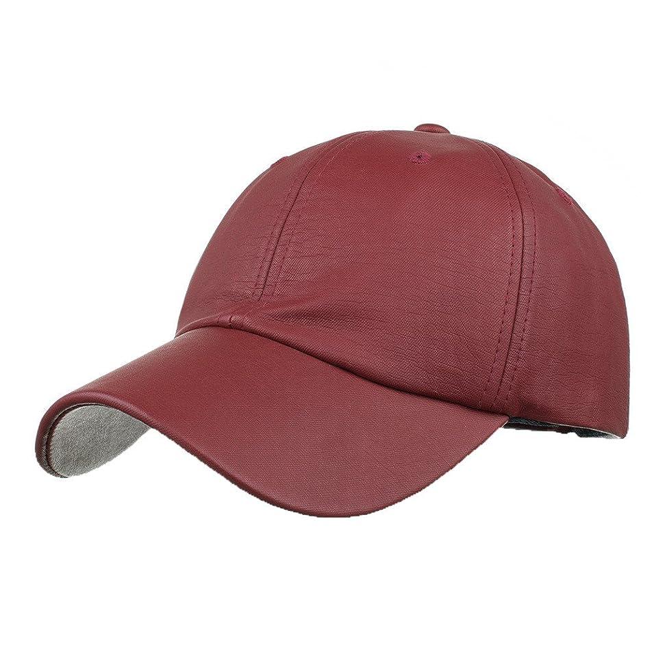 レスリングかもめ厚くするRacazing Cap PU 無地 ヒップホップ 野球帽 通気性のある 帽子 夏 登山 可調整可能 棒球帽 UV 帽子 軽量 屋外 Unisex Hat (ワイン)