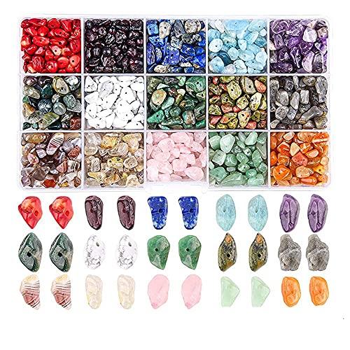 Cuentas Piedra, Cuentas de Piedra de Colores, Cuentas Piedras Preciosas Naturales, Cuentas Piedra Cristal Natural, Utiliza para Hacer Collares, Pulseras, Aretes, Artesanía, 15 Colores