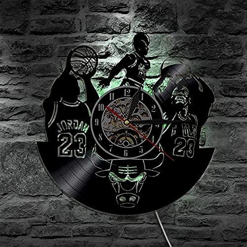 WTTA Reloj de Pared de Vinilo Led de Baloncesto, Silueta Retro, Regalo de Registro, Reloj de Pared para el hogar, Reloj Art Deco Interior