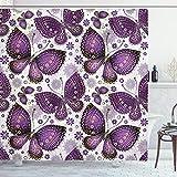 ABAKUHAUS Natürlich Duschvorhang, Asian Butterfly, Personenspezifisch Druck inkl.12 Haken Farbfest Dekorative mit Klaren Farben, 175 x 220 cm, Pflaumen lila lila weiß