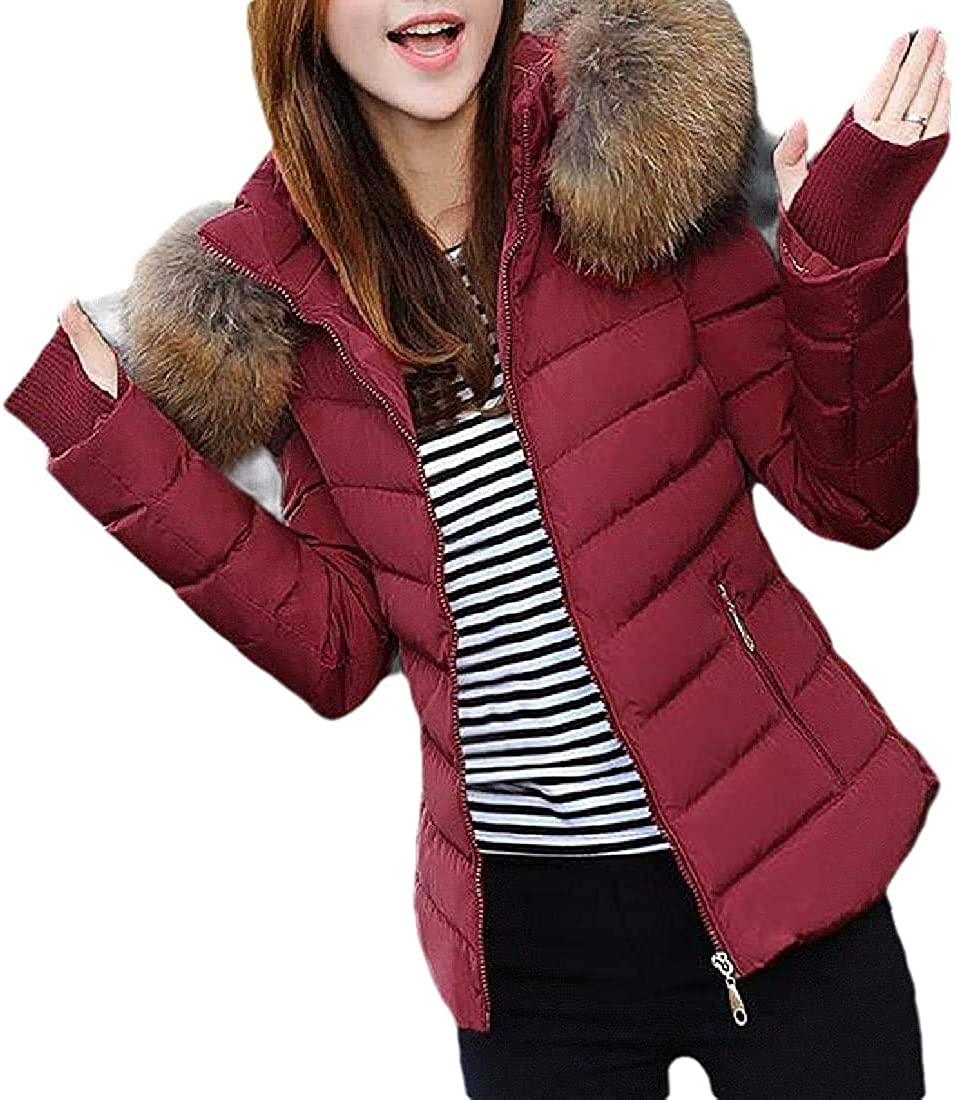 ALICE HENDERSON Women's Slim Hoodie Outwear Quilted Puffer Cotton-Padded Down Jacket
