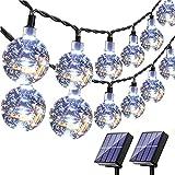 HareySikr 2 Pack 50 Feet 100 LED Solar Globe String Lights with 8 Modes Lighting Solar Crystal Ball String Lights Solar Powered Fairy Lights Waterproof Upgraded Larger Solar Panels Outdoor