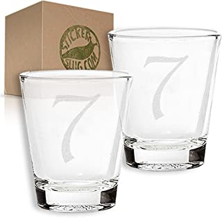 Stickerslug Engraved Number 7 Style 51 Seven Shot Glasses, 1.5 ounce, Set of 2