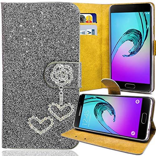 numerva Huawei Ascend G730 Strass Hülle, Schutzhülle [Glitzer Case, Bling Design Handyhülle] Cover PU Leder Tasche für Huawei Ascend G730 Handytasche [Grau]