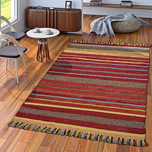 TT Home Tappeto Tessuto A Mano Soggiorno Natura Tappeto Tessuto Kelim Cotone Righe Multicolore, Größe:120x170 cm