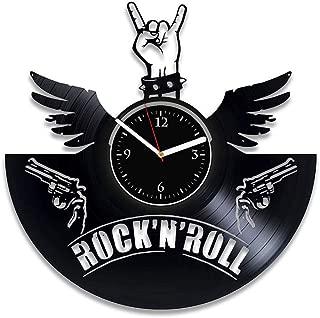Clock Music Rock'n'Roll Clock Guitar Vinyl Clock Rock'n'R Music Art Guitar Wall Clock Large 12 Inch Rock'n'Roll Record Clock Guitar Vinyl Wall Clock Rock'n'Roll Xmas For Man Guitar For Him