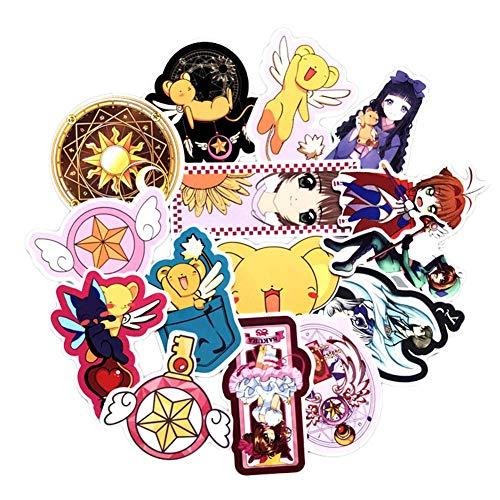 Haushele OFD Anime Aufkleber Koffer Gitarre Sticker Telefon Aufkleber Skateboard Aufkleber Naruto Mein Held Akademie Sailor Moon Nette Katze Doodle Aufkleber (15 Stück Card Captor Sakura)