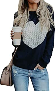 Women's Pullover Sweaters Knitted Long Sleeve Crewneck Heart Patchwork Jumper Cozy Tops