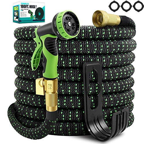 TIKUTKU 100ft Garden Hose Expandable,No-Kink & Flexible Lightweight Water Hose 100 ft,with 10 Function Spray Nozzle,3/4 inch Brass Connectors,Durable Multi-layers Latex,Leakproof Heavy Duty Hoses