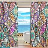 Paneles de cortinas con diseño de mandala bohemio para ventana de salón, 2,2 m...