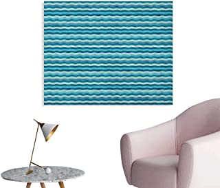 Anzhutwelve Abstract Photo Wall Paper Ocean Themed Wave Design Marine Artwork Aquatic Color Palette Horizontal Lines Cool Poster Teal Turquoise W28 xL20