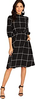 Floerns Women's 3/4 Sleeve Knee Length Plaid Fit and Flare Dress