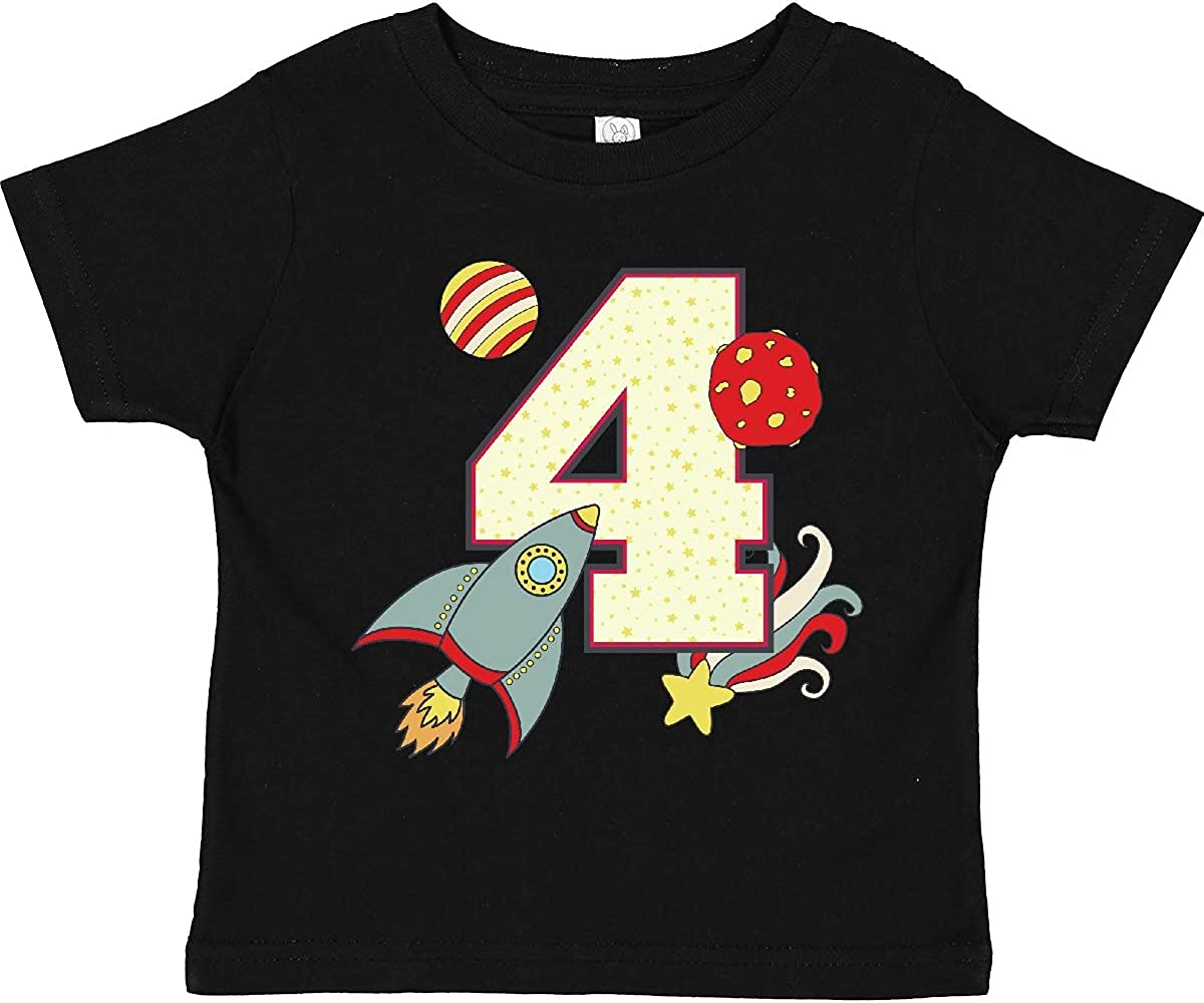 inktastic 4th Birthday Outer Space Theme Toddler T-Shirt