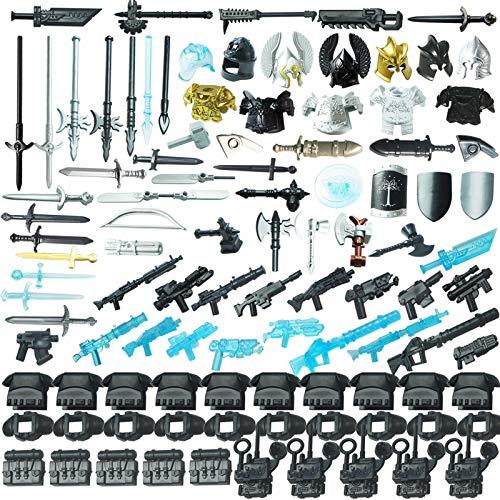 MBKE 113pcs Juego de Accesorios de Arma Personalizados para Casco de Soldado Militar Caballero y Juego de Arma de Espada, Compatible con Lego